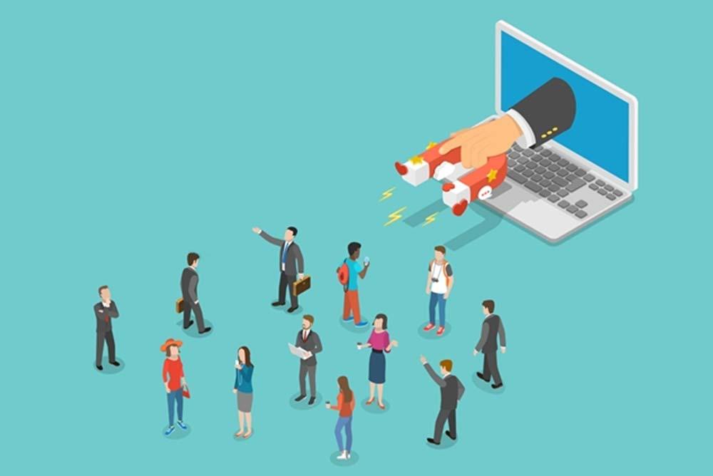 Ilustração de pessoas sendo atraídas para o site.